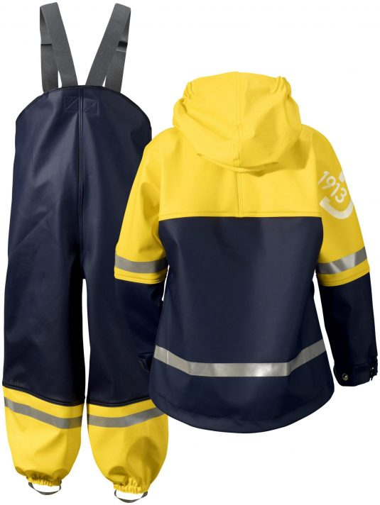 Didriksons Waterman Waterproof Jacket and Trousers Set Blue Yellow