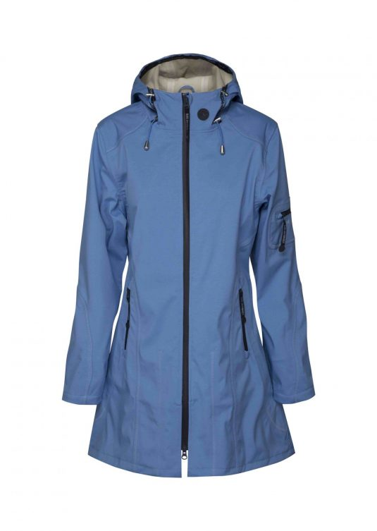 Ilse Jacobsen Soft Shell Raincoat (Style 07B) - Regatta Blue / Sand