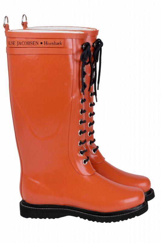 Ilse Jacobsen Tall Laced Rubberboot - Orange