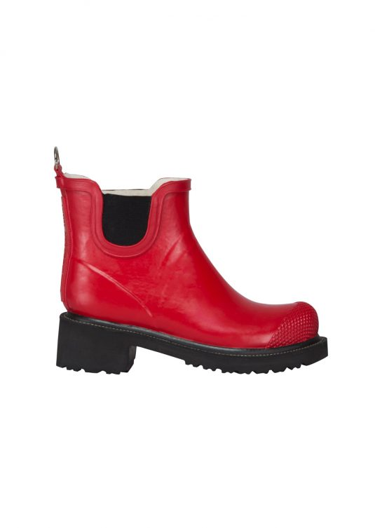 Ilse Jacobsen Short Heeled Rubber Boot - Deep Red, Moonstone Blue