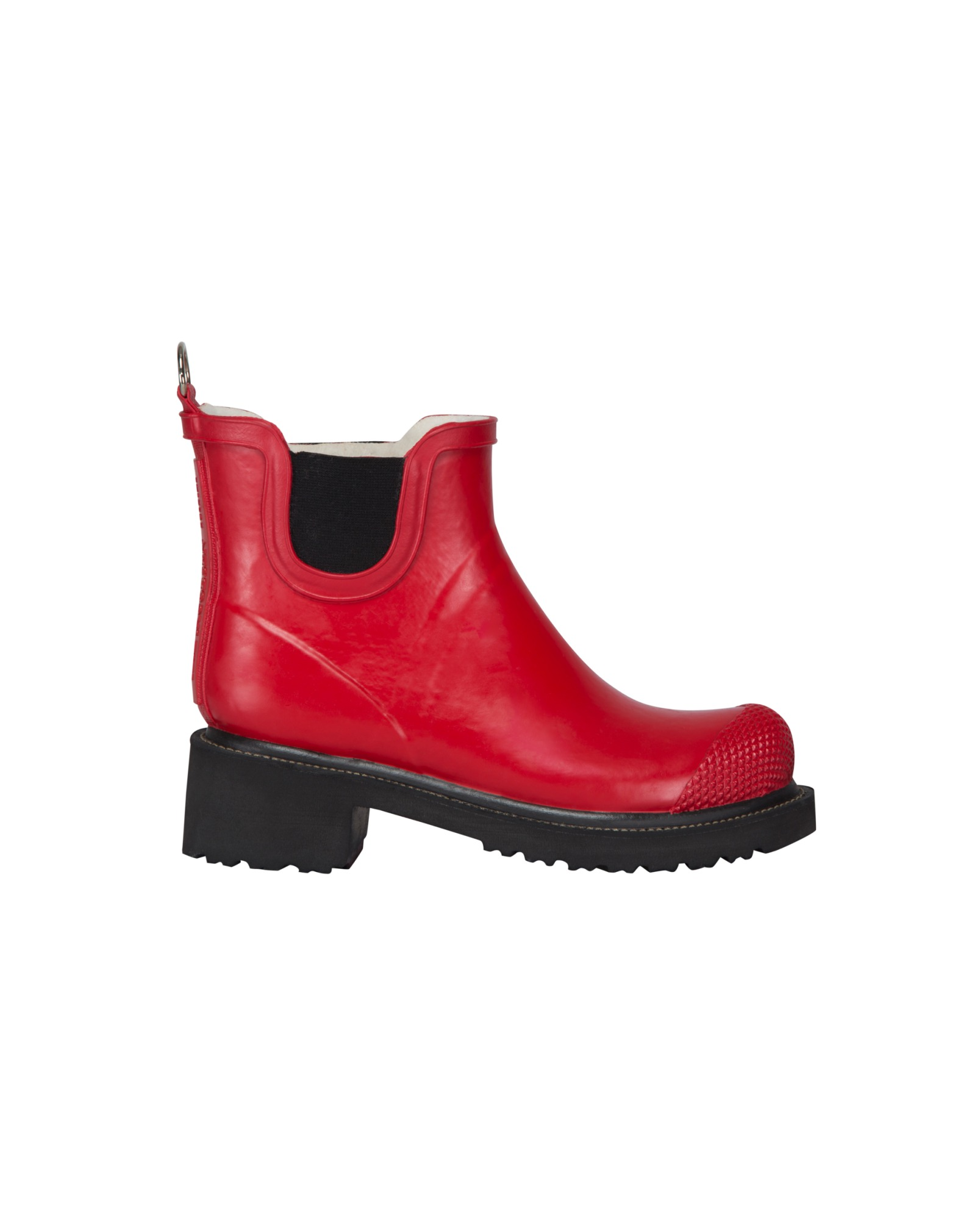 Ilse Jacobsen Short Heeled Rubber Boot - Deep Red, Moonstone Blue