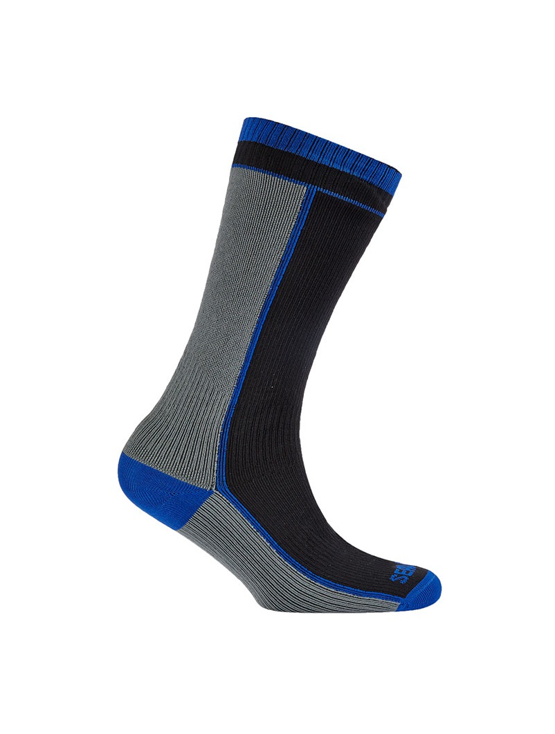 Sealskinz Mid Weight Mid Length Sock - Black/Blue/Grey