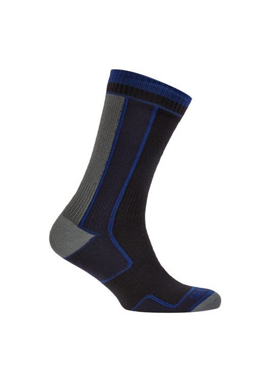 Sealskinz Thin Mid Length Sock - Black/Blue/Grey