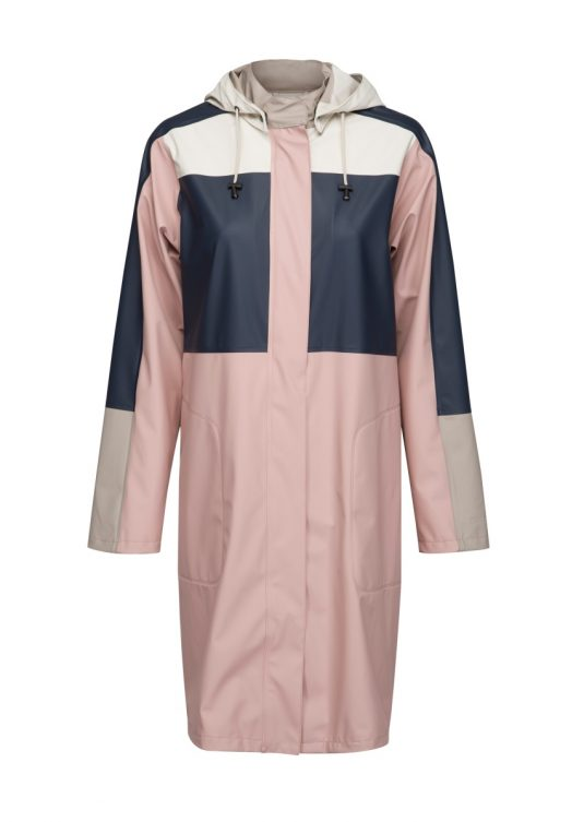 Ilse Jacobsen Light True Rain Colour Block Raincoat Rain99 Adobe Rose 1