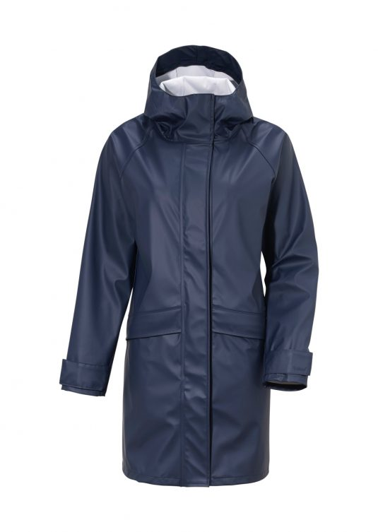 Didriksons Elly Womens Waterproof Parka Raincoat Blue Navy Raincoat Rainwear