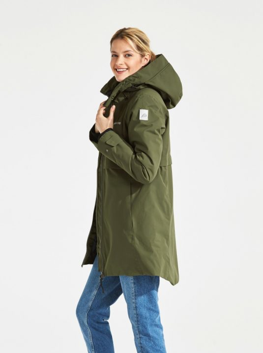 Didriksons Helle Waterproof parka raincoat Peat Green