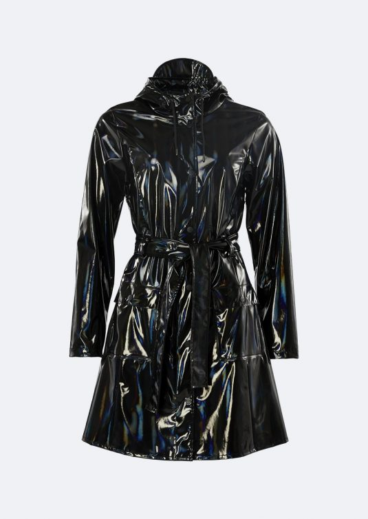 Rains Holographic Curve Jacket Glossy Black 1