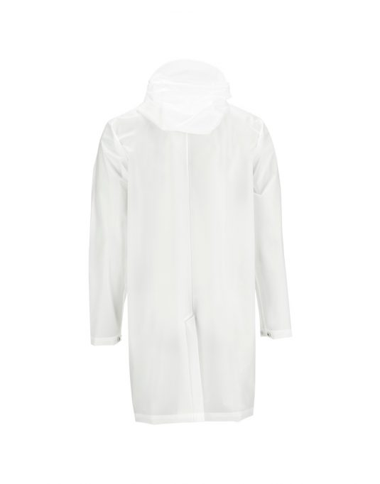 Rains Hooded Coat Foggy White Back