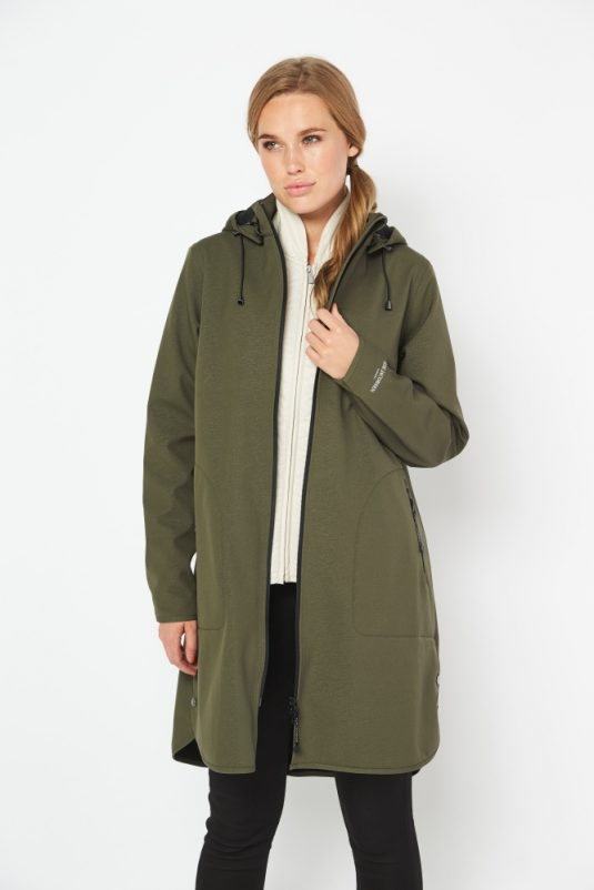 Ilse Jacobsen Rain128 Soft Shell Raincoat Army Green 5