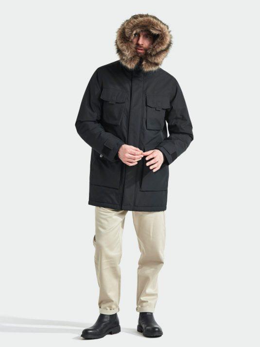 Didriksons Reidar Mens Waterproof Parka Raincoat Black