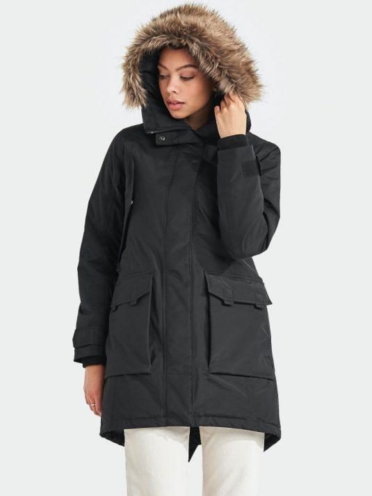 Didriksons Tekla Womens Waterproof Parka Raincoat Black