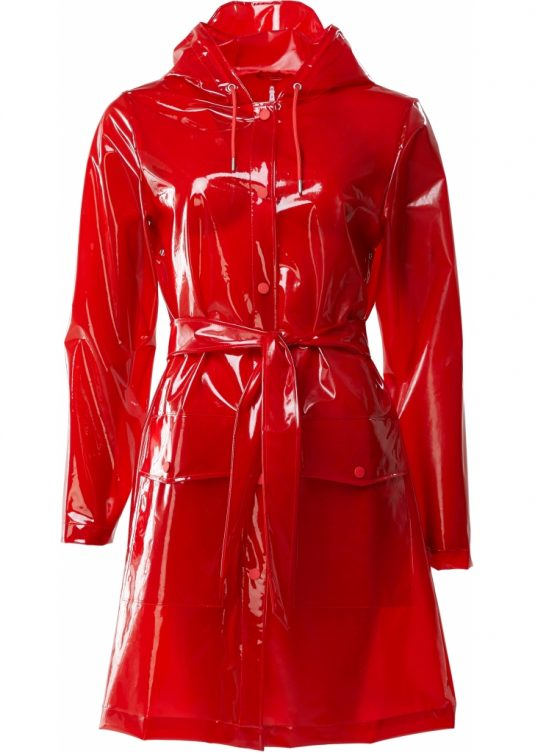 Rains Transparent Belt Jacket Glossy Red