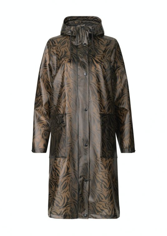 Ilse Jacobsen Clear Rain Zebra Print Brown Soft Polyurethane Vinyl Raincoat Brown Walnut