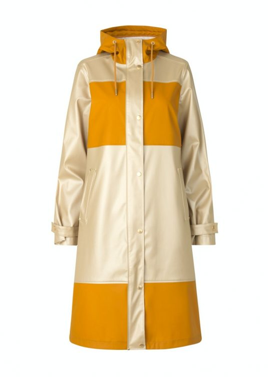 Ilse Jacobsen Rain161 Light True Rain Recycled Colour Block Raincoat Gold Platin Mustard Yellow