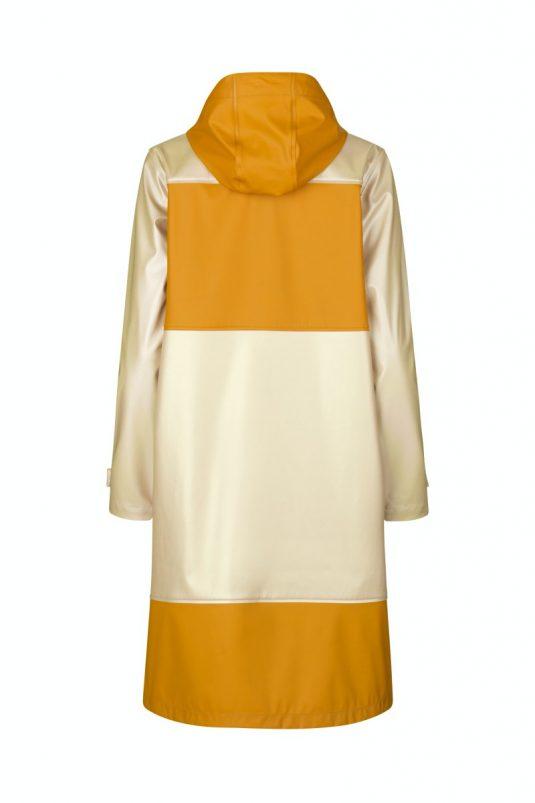 Ilse Jacobsen Rain161 Light True Rain Recycled Colour Block Raincoat Gold Platin Mustard Yellow