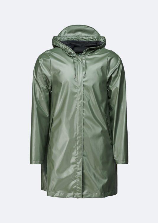 Rains A-line Jacket Shiny Olive Green 1