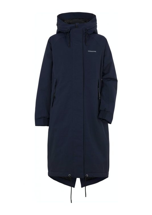 Didriksons Alicia Long Waterproof Raincoat Parka Winter Weather Rain Storm Protection Black Dark Blue