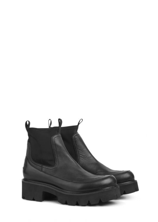 Ilse Jacobsen Miley Black Leather Ankle Boots Style Chunky Sole